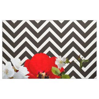 chevron Flower mix black and white Fabric