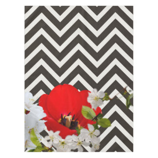 chevron Flower mix black and white Tablecloth