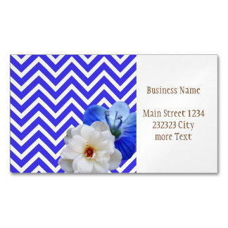 chevron Flower mix blue Magnetic Business Card