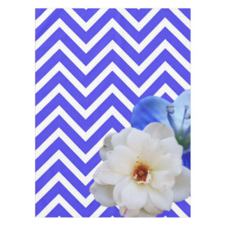 chevron Flower mix blue Tablecloth