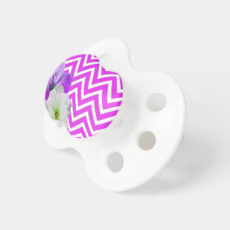 chevron Flower mix lilac Baby Pacifier