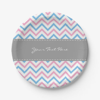 Chevron Gender Reveal Paper Plates-Blue & Pink Paper Plate