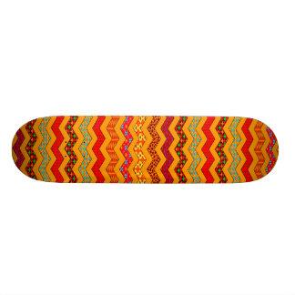 Chevron Geometric Designs Color Orange, Red, Blue Skate Board Deck