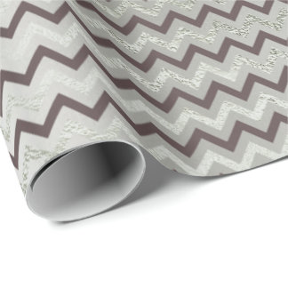 Chevron Glam  Gray Lux Metallic Silver Ivory Brown Wrapping Paper