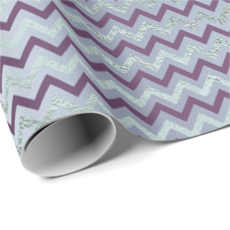 Chevron Glam Lux Purple Amethyst Plum Blue Gray Wrapping Paper