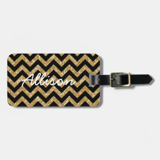 Chevron Glitter Look Luggage Tag