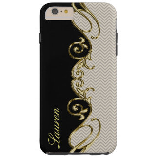 Chevron Gold Black iPhone 6 Plus Monogram Case