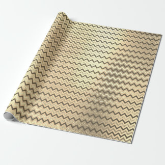 Chevron Gold Faux Brown Stripes Lines  Zig Zag Lux Wrapping Paper