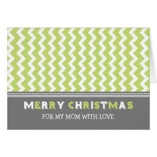 Chevron Green Grey Mom Merry Christmas Card