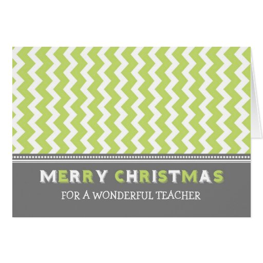 Chevron Green Grey Teacher Merry Christmas Card