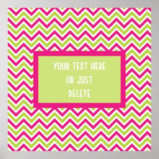 Chevron green pink zigzag pattern funky custom poster