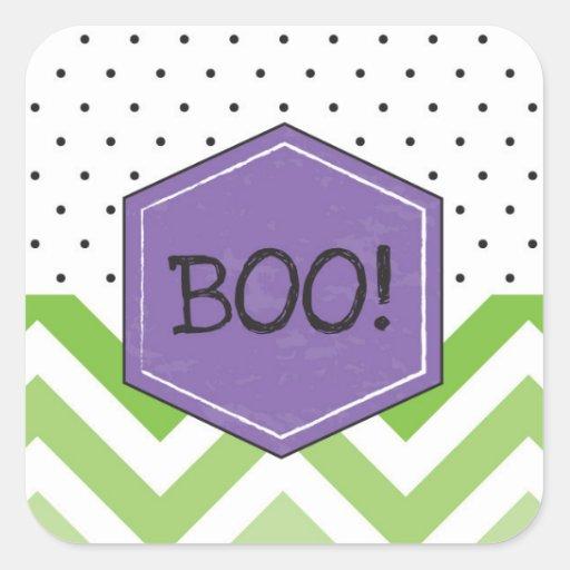 Chevron Green & Purple Boo Halloween Stickers