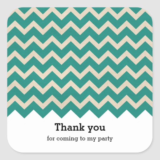 Chevron green square sticker