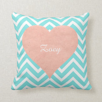 Chevron Heart Personalized Name Pillow Retro Vtg