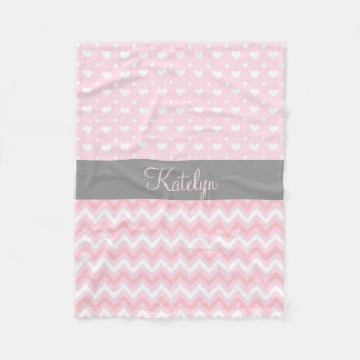 Chevron Hearts Pattern Pink Gray | Monogram Fleece Blanket