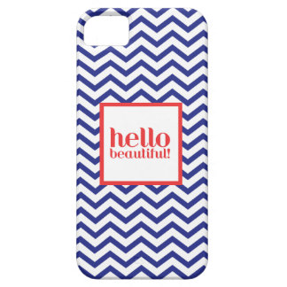 "Chevron ""Hello Beautiful"" in Navy & Red iPhone 5 Case"