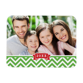 Chevron Holiday Keepsake Photo Magnet