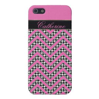 chevron houndstooth hot pink zigzag iphone 5 case