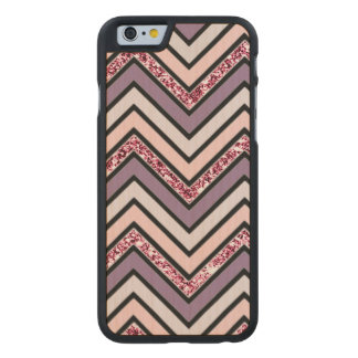 Chevron Lavender Pink & White Carved Maple iPhone 6 Case
