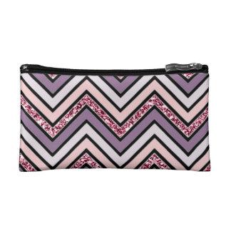 Chevron Lavender Pink & White Cosmetic Bag