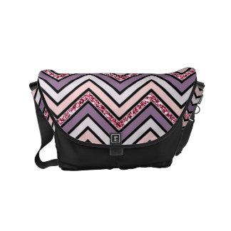 Chevron Lavender Pink & White Courier Bag
