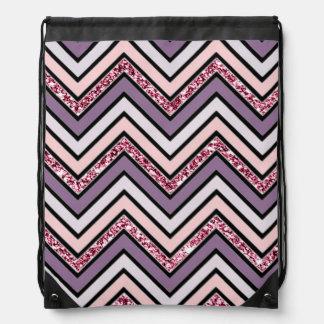 Chevron Lavender Pink & White Drawstring Bag