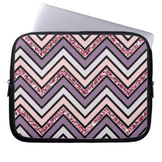 Chevron Lavender Pink & White Laptop Sleeve