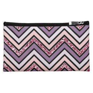 Chevron Lavender Pink & White Makeup Bag