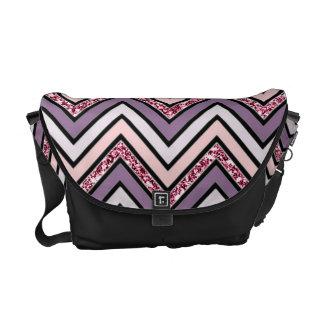 Chevron Lavender Pink & White Messenger Bag