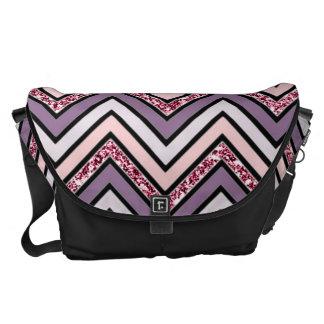 Chevron Lavender Pink & White Messenger Bags