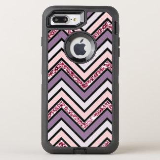 Chevron Lavender Pink & White OtterBox Defender iPhone 8 Plus/7 Plus Case