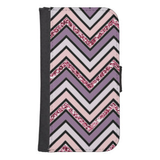 Chevron Lavender Pink & White Samsung S4 Wallet Case