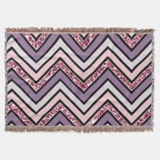 Chevron Lavender Pink & White Throw Blanket