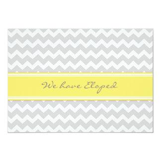 Chevron Lemon Gray Elopement Announcement Cards