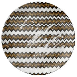 chevron leopard print plate porcelain plates