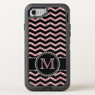 Chevron Light Pink Glitter Personalized Defender OtterBox Defender iPhone 8/7 Case