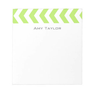 Chevron Lime Green and White Memo Pad