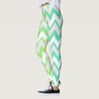 Chevron lime teal aqua ombre design leggings