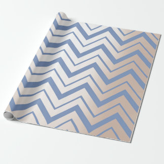 Chevron Metallic Blue Gray Pearly Ivory Zig Zag Wrapping Paper