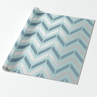 Chevron Metallic Graphite Silver Tiffany Navy Blue Wrapping Paper