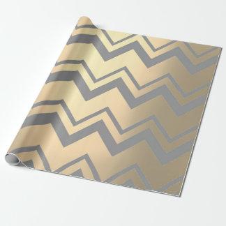 Chevron Metallic gray Silver Foxier Gold Zig Zag Wrapping Paper