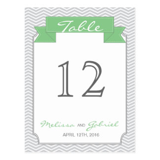 Chevron Mint and Grey Wedding Table Number Postcard