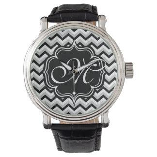 Chevron Modern Black and White ZigZag Monogram Watch