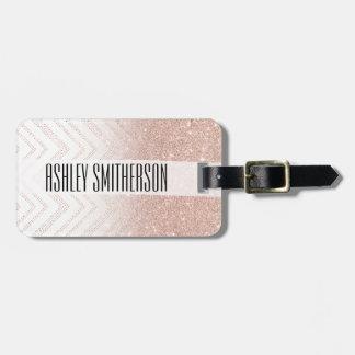 Chevron moderne de faux d'or d'ombre rose chic de étiquettes bagages