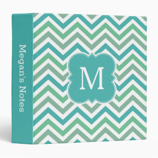 Chevron Monogram Aqua Green Teal School Binder