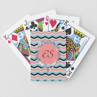Chevron Monogram Bicycle Playing Cards