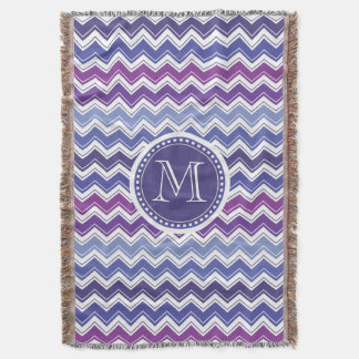 Chevron Monogram Blue and Purple Zigzag Throw Blanket