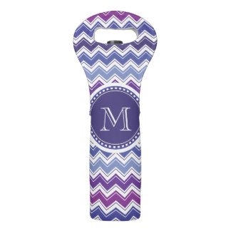 Chevron Monogram Blue Purple and White Wine Bag