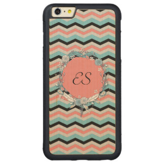 Chevron Monogram Carved Maple iPhone 6 Plus Bumper Case
