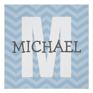 Chevron Monogram Child's Room Art Poster